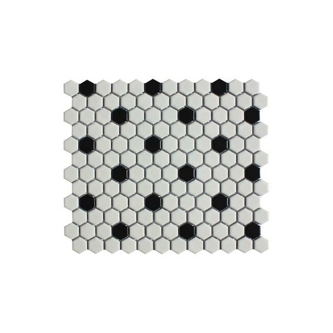 Hexagon Mosaic Matt White & Black Mix