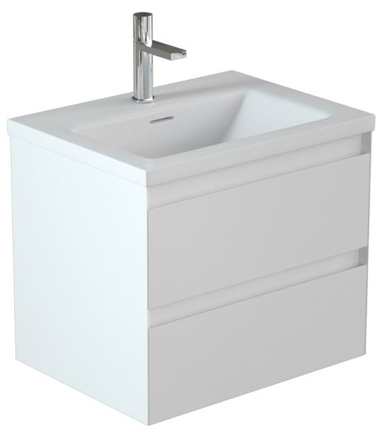 Omni Matt White 2 Drawer Unit with Basin 60cm