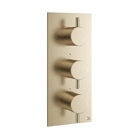 MPRO Brushed Brass Thermostatic Shower Valve 3 control